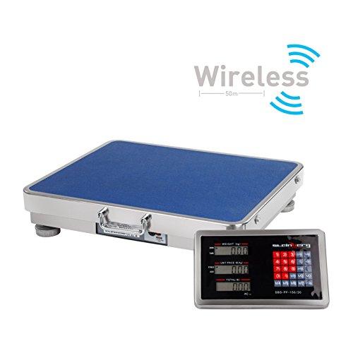 Steinberg Systems SBS-PF-A150/20 Bilancia Piattaforma Bilancia Industriale Digitale (150 kg / 20 g, Superficie di Pesatura 42 x 52 cm, Display LCD) Wireless