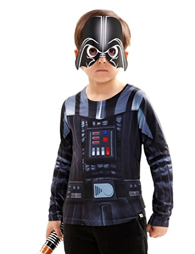 Shirt Darth Kostüm Vader - viving Kostüme viving costumes231032 Darth Vader Jungen, Lange Ärmel t-Shirt (4-6 Jahre, One Size)