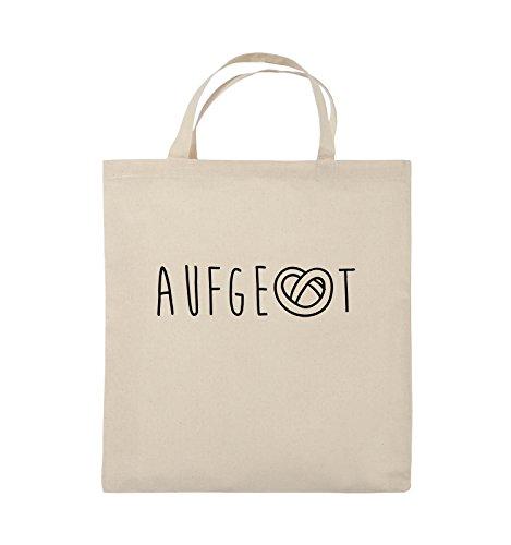 Comedy Bags - AUFGEBREZELT Oktoberfest - Jutebeutel - kurze Henkel - 38x42cm - Farbe: Schwarz / Silber Natural / Schwarz