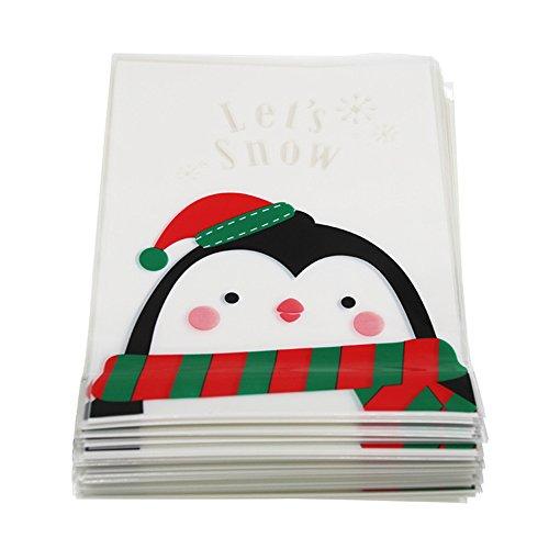 aloiness 100 Stück Tütchen Weihnachten Cellophan Zellglasbeutel Geschenkbeutel selbstklebend Für Cookie Süßigkeit Paket als Geschenktüten