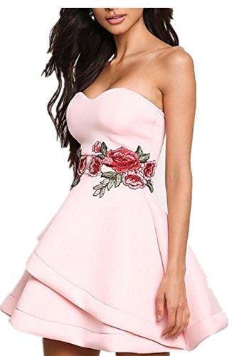 SHUNLIU Damen Abendkleid 2017 Blumen Stickerei Schulterfrei sexy Abendkleid Cocktailkleid Partyskleid moderne tief Ausgeschnitten Ballkleid Pink
