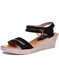 HBDLH Zapatos de Mujer/Cuero Y Sandalias De Verano Impermeable Muffin Fondo Grueso de 8 Cm De Tacon Alto Pescado...