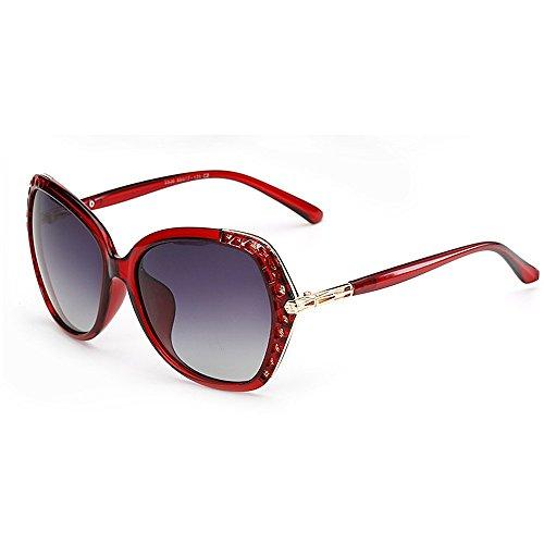Yiph-Sunglass Sonnenbrillen Mode Damen-Sonnenbrille Übergroßes Polarized für Frauen Quadratischer Rahmen Umrandete Katzenaugen-Sonnenbrille UV-Schutz Klassische Coole Dame zum Fahren (Farbe : Rot)