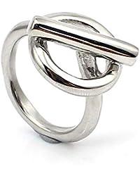 82e6ce4d85ed bijouxdemylene.fr Bague pour Femme ou Fille en Acier Inoxydable avec Cercle  et Barre Transversale
