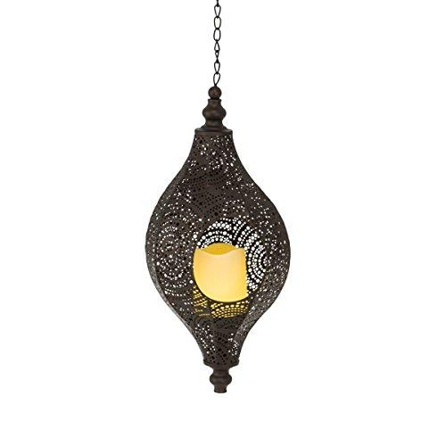 Solarleuchte Agadir - Orientalische Laterne - Gartenlaterne mit LED Kerze - Metall - Braun