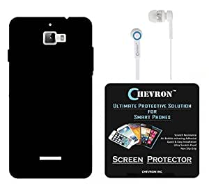 Chevron Back Cover Case for Coolpad Note 3 with HD Screen Guard & Chevron 3.5mm Stereo White Earphones (Black)