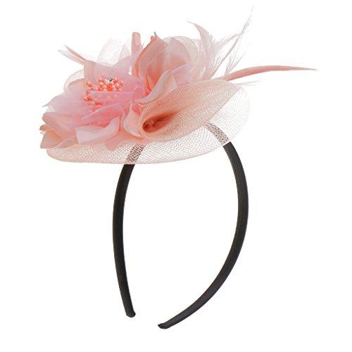 Fascinator Haarreif Blume Schleier Hut Kopfband Haar-Accessoires - Rosa ()
