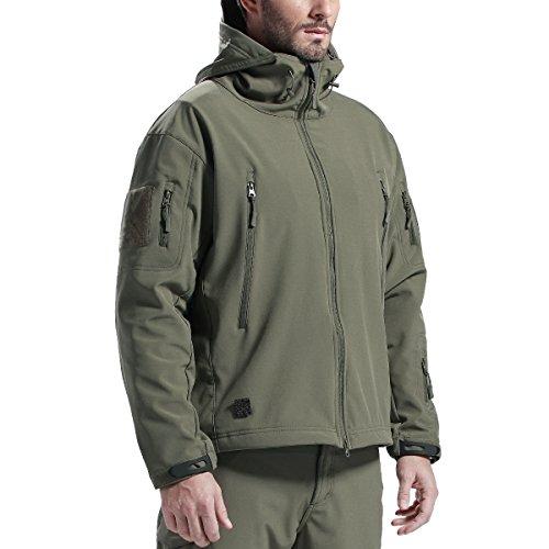 FREE SOLDIER Männer Wasser Abwehrmittel Kapuzenjacke Winddicht Wandern Ski Mountain Softshell Jacke (Grün XL)  (Uniform Womens Mens)