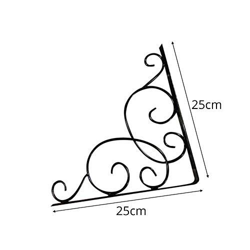Irahdbowen triangolo mensola staffa di supporto da muro in ferro da parete stile vintage floreale display mensola rack di stoccaggio supporto holder, nero, 25 * 25