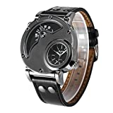 HermosaUKnight Reloj de Cuarzo de Cuero para Hombres, Reloj de Cuarzo de Doble Hora, Reloj HP9591B para Viajes al Aire Libre: Negro