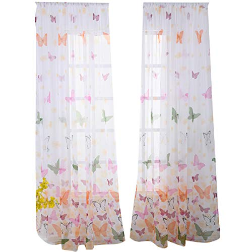 Ruiboury - tende semitrasparenti in tulle con stampa di farfalle, per soggiorno, camera da letto, finestra, balcone, divisorio