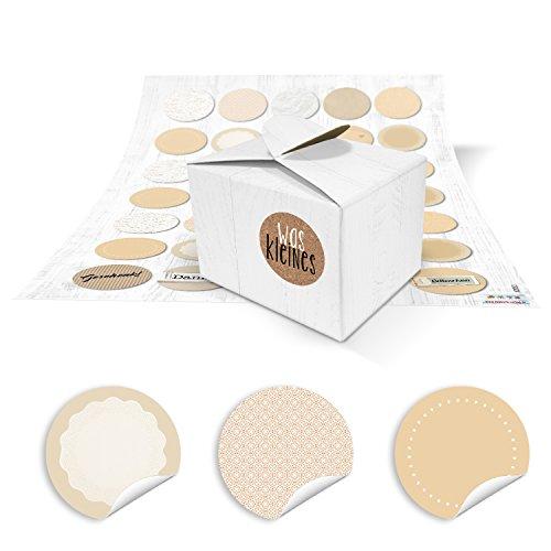 35 kleine weiße Geschenkschachteln Schachteln 8 x 6,5 x 5,5 + 35 runde neutrale beige natur farbene Blanko-Aufkleber zum Selber-machen basteln v. Mitgebseln, give-aways für Selbstgemachtes