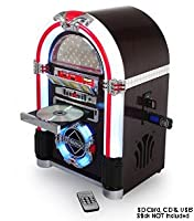 Table Top JUKEBOX (Large - 47cm tall) - Automatic LED Colour changing Tube Lighting -CD Player, AM / FM Radio, Encode Recording CD to USB / SD Card (inc MP3 Playback), AUX IN (Music from iPod, iPhone, Sony Xperia, Samsung Galaxy, Smart Phones, Mobile Phon