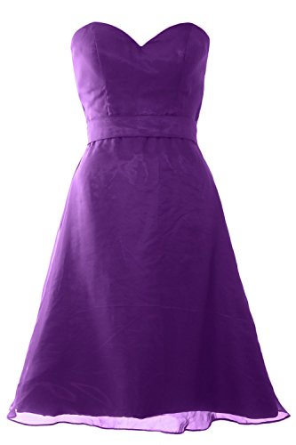 MACloth Women Sweetheart Short Bridesmaid Dress Wedding Party Gown with Sash Violett