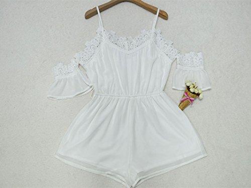 ebb3c85d575cc8 ... Junshan Boho Jumpsuit Damen Sommerkleid Elegant Playsuit Chiffon  ärmellos Overall Spitze Romper Jumper Kurz Strandkleid Weiß ...