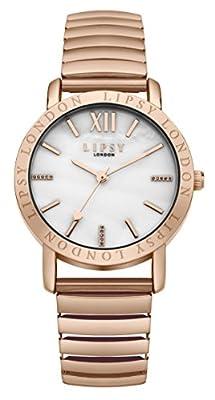 Lipsy SLP001RGM - Reloj de cuarzo para mujeres (con esfera nácar y correa de aleación), oro rosa de Lipsy
