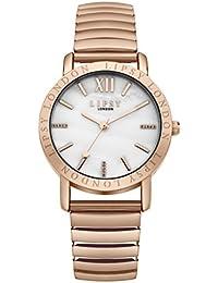 Lipsy SLP001RGM - Reloj de cuarzo para mujeres con esfera nácar y correa oro rosa de aleación