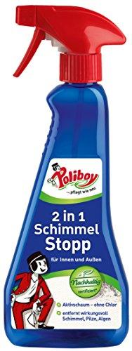 Poliboy - 2 in 1 Schimmel Stop - Schimmelentferner - entfernt wirkungsvoll Schimmel, Pilze und Algen - Einzeln - 375 ml - Made in Germany