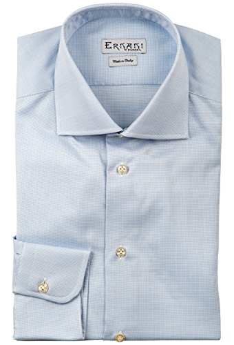 Ernani camicia panama celeste regular fit, collo francese, uomo - made in italy -