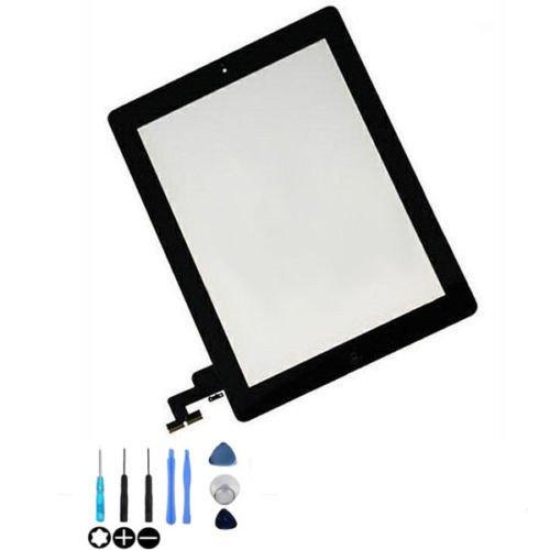 Pantalla táctil de cristal digitalizador Asamblea para Apple iPad 2con botón de inicio y soporte de cámara y adhesivo cinta premontado