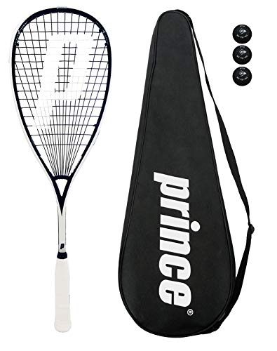 Prince Pro Souverän 650 Squashschläger + 3 Squash Bälle + Tasche - 3 x Pro Balls -