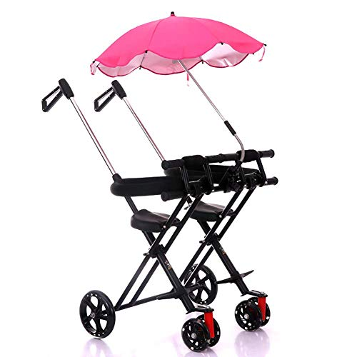 Kinder Dreirad, Eltern Lenker und Canpoy, 3 Rad Fahrrad für Kleinkinder, Wahl der Farbe, Single/Twin Seat Verstellbarer Putter für Reisen mit Kindern im Alter von 1-5 Jahren,A (Single Zu Double Stroller)