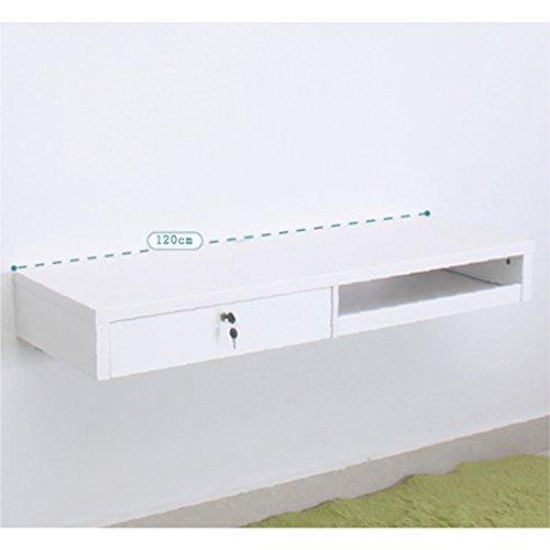 YHDD Malen Sie Wandbehang Computertisch an der Wand klein mit Schublade hängen Wand Schreibtisch, 86cm, 100cm, 120cm, weiß (größe : 120CM)