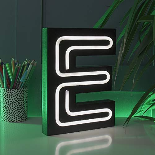 Festive Lights - Letras Luminosas con Efecto de neón (Funciona con Pilas, 16 cm, para Colgar en la Pared, iluminación Decorativa (E), Color Negro