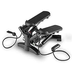 Klarfit Powersteps Stepper (antidérapant pour exercices aérobic avec extenseurs, poids supporté jusqu'à 100kg, ordinateur de bord) - noir