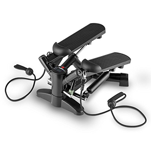 Klarfit Powersteps • Aerobic Stepper • Twist-Stepper • Fitness-Stepper • 2 Expander-Bänder • Trainingscomputer • Abschaltautomatik • Anzeige: Kalorien und Schrittzahl • Belastung max. 100kg • schwarz