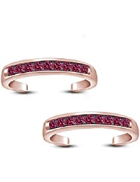 Silvernshine Pink Sapphire 14k Rose Gold Plated .925 Sterling Silver Adjustable Band Toe Ring