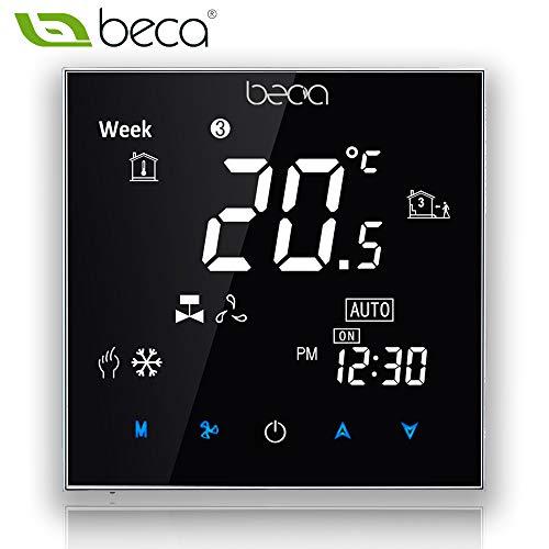 Beca 2000 Series Programmierbare Thermostat Zwei/Vier Rohr für Klimaanlage Fan Coil (Vier Pfeife, Schwarz)