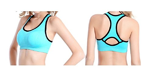 Reggiseno Sportivo Donna Elasticizzato Canottiera di Allenamento Yoga Fitness Jogging Racerback Blu