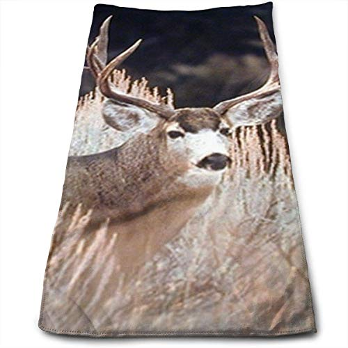 Large Mule Deer Big Antler Rack Animal Microfiber Bath Towels,Soft, Super Absorbent and Fast Drying, Antibacterial, Use for Sports, Travel, Fitness, Yoga