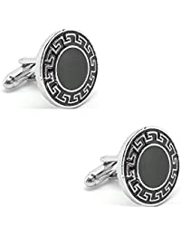 [Sponsored]Circular Black With Silver Design Border Cufflinks With Enamel Finish In A Velvet Gift Box For Men High Quality...