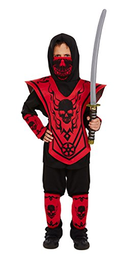 Kinder Ninja Kostüm Outfit - Ages 4-12 Years - Rot, Children: L