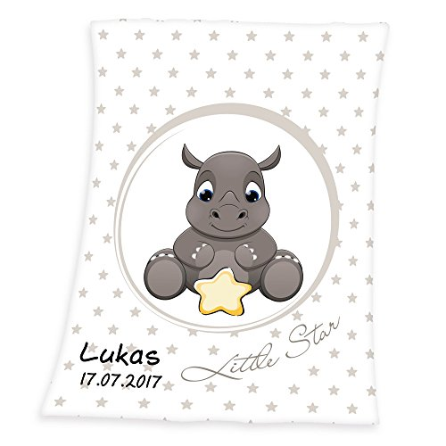 Wolimbo Flausch Babydecke mit Ihrem Wunsch-Namen und Nashorn Motiv 75x100 cm für Mädchen und Jungen