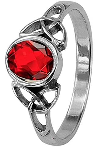 Celtic Birthstone Sterling Silver Ring July (Cancer/Leo) - Ruby