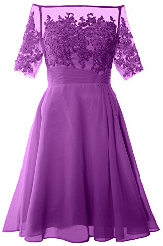 MACloth Women Off Shoulder Mother of Bride Dress with Sleeve Midi Cocktail Dress Amethyst