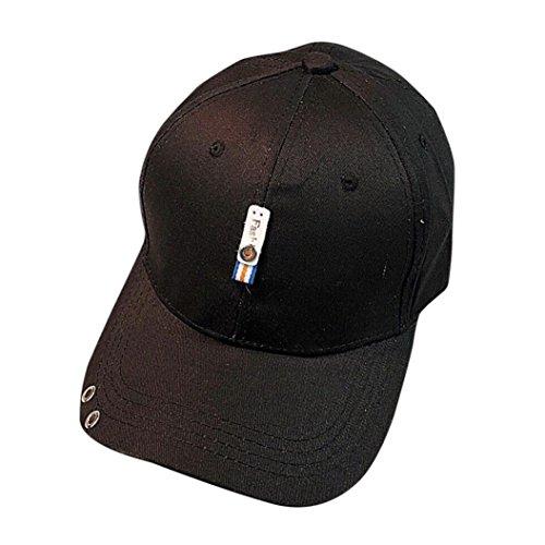 n Männer Hysterese Schirmmütze Baseballmütze Unisex Hip Hop Flachen Hut (Schwarz) (Hai Kostüm Essen)