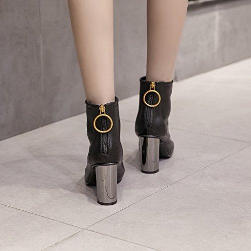Aluk- Automne Et L'hiver - Bottes Pour Femmes Version Coréenne De Fines Bottes À Talons Hauts Mode Sauvage Simple Bottes (couleur: Noir, Taille: 38 Pieds Longueur 240cm) Noir