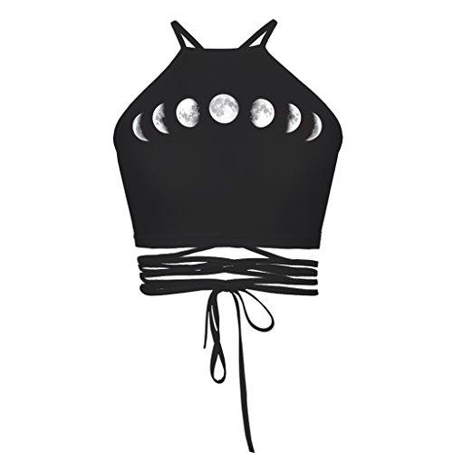 Mond Eclipse Drucken Neckholder Ärmellos Gebunden Kurzes Oberteil Mit Weste T Shirt Für Frauen (Mond T-shirt)