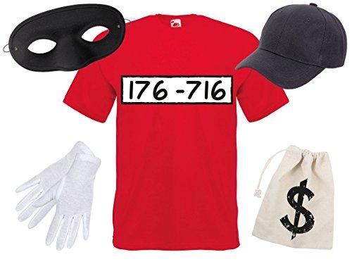 Panzerknacker Fan Kostüm Outfit Maske Set Cap Handschuhe Einbrecher Bankräuber Verkleidung von Alsino, Variante wählen:T-Shirt/Cap/Maske;Größe wählen:L (Einbrecher Outfit)