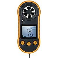 KKmoon Mini Digital Anemómetro Termómetro Portátil Anemómetro Bolsillo Medidor de velocidad del aire Velocidad del aire Probador de temperatura Retroiluminación LCD con modo de retención