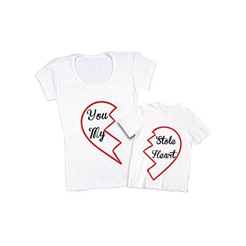 ca141f0caeb05a Altra Marca Coppia di T-Shirt Bianche Personalizzate per Madre e Figlio  Magliette per la