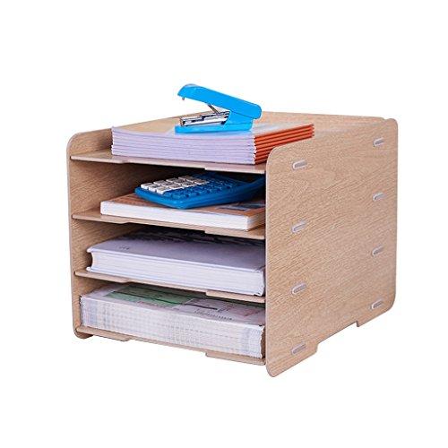 Kinderzimmermöbel Büro Aktenregal A4 Aufbewahrungsbox Desktop Veranstalter Ordner Informationsrahmen vertikalen Abschnitt Rack Buch Box (Color : Cherry Wood, Size : 31 * 24 * 23cm) -