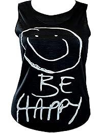 """Smiley Face """"Be Happy"""" Sleeveless Slub Vest Top"""