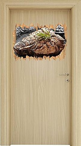 Gebratenes Steak mit Rosmarin schwarz/weiß Holzdurchbruch im 3D-Look , Wand- oder Türaufkleber Format: 62x42cm, Wandsticker, Wandtattoo, Wanddekoration