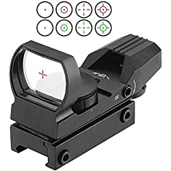 Point Rouge, Greyghost Viseur Airsoft Dot Sight, Green Red Dot Sight Scope 4 Réticule 5 Luminosité, Point Rouge Airsoft avec 11mm Weaver/Picatinny Rail Mount