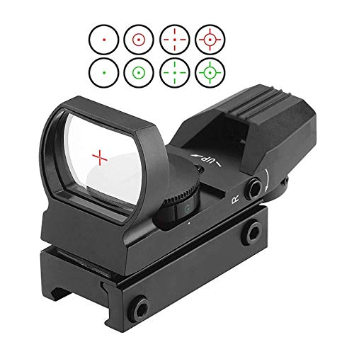 Red Dot Visier, Greyghost Zielfernrohr 11mm Rifle Scope mit 4 Reticles, Rotpunktvisier Zielvisier Leuchtpunktvisier für 11mm Schiene, Visier Airsoft Leuchtpunkt (Airsoft Gun Sight Red Dot)